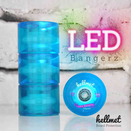 LED Bangerz Longboard Wheels aqua blue 70mm