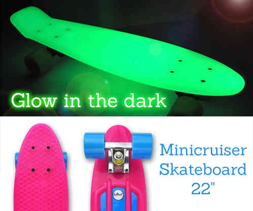 "Hellmet Minicruiser 22"" Vinyl Skateboard ""Glow in the dark"" Pink Blue"