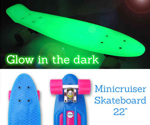 "Hellmet Minicruiser 22"" Vinyl Skateboard ""Glow in the dark"" Blue Pink"