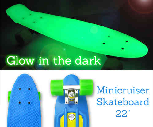 "Hellmet Minicruiser 22"" Vinyl Skateboard ""Glow in the dark"" Blue Green"