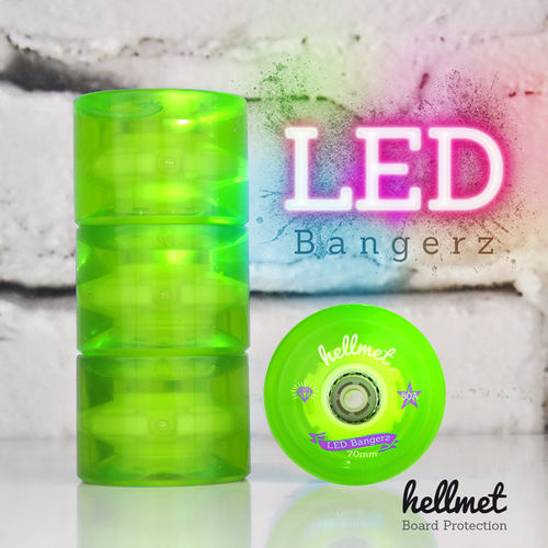 LED Bangerz Longboard Wheels neon green 70mm